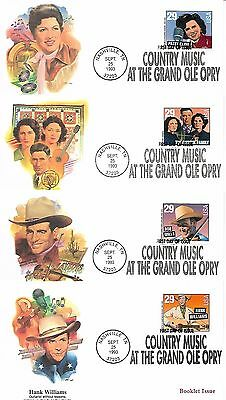 USA 1993 Country Music set of 4 FDCs booklet stamps