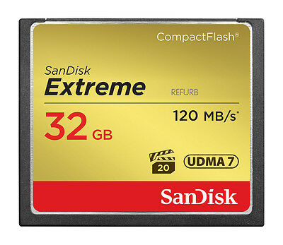 SanDisk 120MB/s Extreme S 32GB CompactFlash CF Memory Card SDCFXS-32G 32 GB
