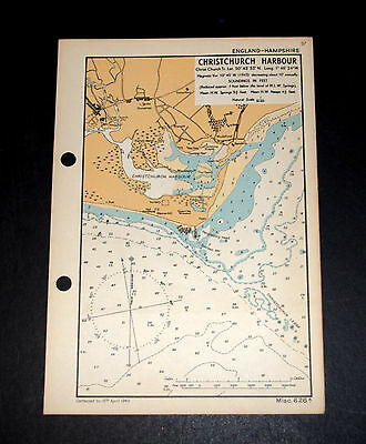 COASTAL DEFENSE - WW2 Admiralty Map of CHRISTCHURCH HARBOUR, Hampshire, 1943