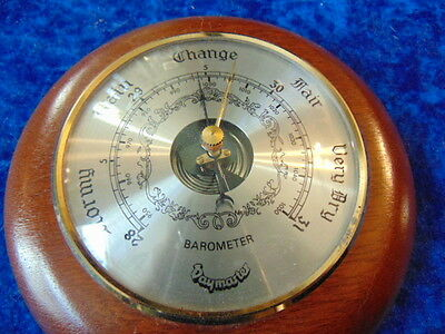 Barometer Round with Rich Red Wooden Surround by Daymaster or Baymaster
