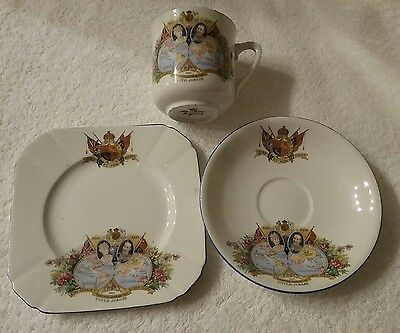 Memrobilia Cup, Saucer, Plate King George And Queen Mary Silver Jubilee 1911