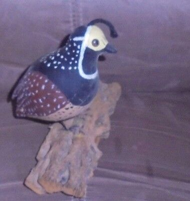 Wood Hand~Carved Hand Painted Bird (#27)  Quail?-Marked Sherman