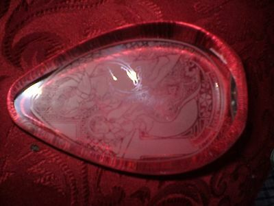 """Wedgwood Glass Christmas Tapering Paper Weight With """"christmas 1976"""" On It."""
