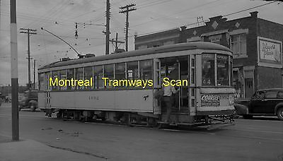Montreal Tramways Commission Original B&w Trolley Negative Of Car 1992 In 1952