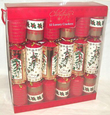 Pack Of 12 Luxury Family Christmas Crackers Foiled Red & Gold Christmas Holly