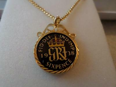 Vintage Enamelled Sixpence Coin Pendant & Necklace. Birthday Xmas Present