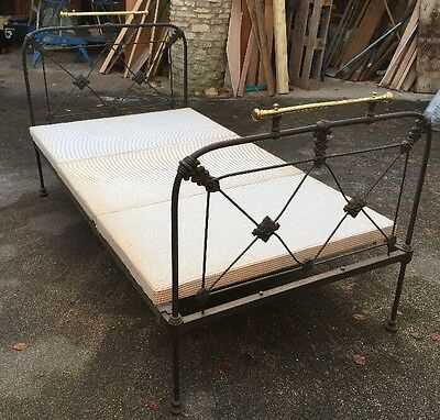 "19c Antique Victorian Cast Iron & Brass Single Or 3/4 42"" Bed Stead Frame & Base"