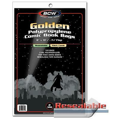 "1 Pack of 100 BCW Resealable 8"" Thick Golden Comic Book Storage Poly Bags"