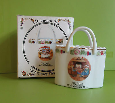 Regency Fine Arts  Tales of Honeysuckle Hill 'Afternoon Tea' china basket BOXED