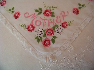 Vintage Lovely Lace Edge Pink Roses Mother Hankie Handkerchief