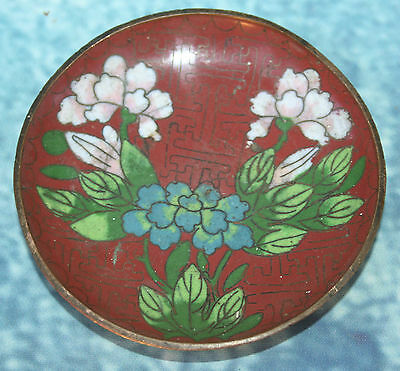 Antique Japanese Cloisonne Enamel Pin Dish Tray Floral Flowers