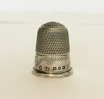 Antique Victorian Solid Silver - Sewing Thimble Needle - Birmingham 1897 - Swann