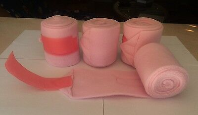"""PONY Soft Pink Polo Wraps Set of 4 Shock Resistant 3 1/2"""" X 5ft Equine Textiles"""