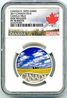 2017 $10 Canada 150Th Silver Proof Ngc Pf70 Matte Canola Field First Releases