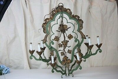 Antique Chandelier Italian 10 Light Tole & Iron Grape Bunches Gold Green Painted