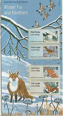 GB 2015 Winter Fur & Feathers Post and Go stamps in Presentation Pack