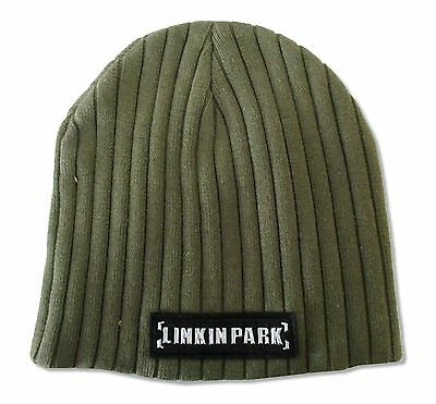 Linkin Park Shiny Chrome Lp Logo Green Beanie Ski Hat New Official