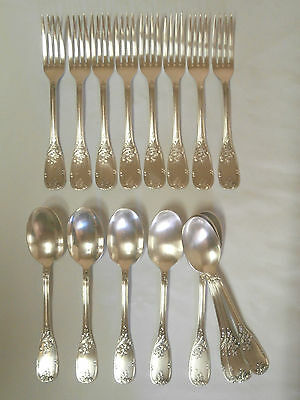 8 Couverts  En  Metal Argente Louis Xv Style Marly 8 Fourchettes + 8 Cuilleres