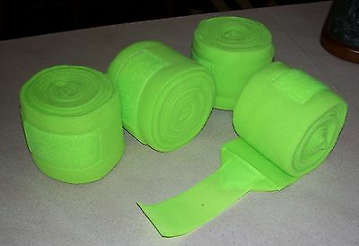 NEW Horse Lime Green Polo Wraps Set of 4 Shock Resistant 9ft Equine Textiles
