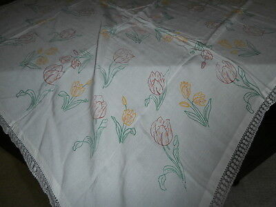 """VINTAGE WHITE COTTON TABLECLOTH with PRINTED TULIP DESIGN & LACE ~34"""" Square"""