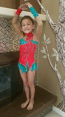 EUC teal red BEAUTIFUL rhythmic gymnastics leotard Ice skating dress 8-9 y.o.