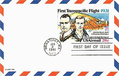 Dr Jim Stamps Us First Transpacific Flight Air Mail First Day Postal Card 1981