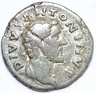 AUTHENTIC EMPEROR ANTONINUS PIUS, AR Silver Denarius - rev. CONSECRATIO -  A609