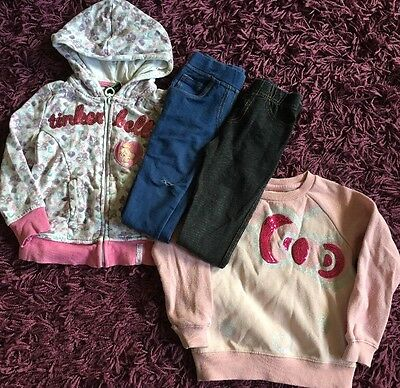 2 Girls Winter Outfits 2-3 Jeggings, Jumper Hoody Jacket Tinkerbell Hello Kitty
