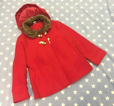 Girls Red Smart Toggles Fur Hooded Coat Jacket TU Age 3-4 Years Still In Stores