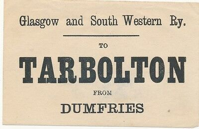 Glasgow & South Western Railway luggage label - TARBOLTON From DUMFRIES