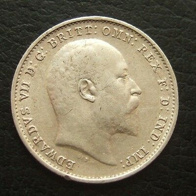 1908 EDWARD VII THREEPENCE : BRITISH .9250 STERLING SILVER COIN ...t1810