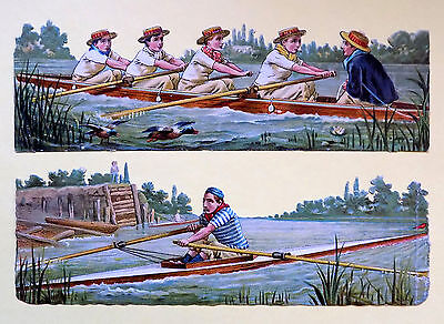 c1890 VICTORIAN DIE-CUT ALBUM SCRAPS ~ ROWING SCRAPS: COXED 4s & SINGLE SCULLS