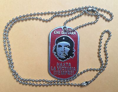 Che Guevara dog tag, Necklace w/chan,stainless steel,HASTA LA VICTORIA SIEMPRE !