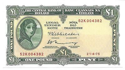 1975 Ireland 1 One Pound Note, Cat. 64, Fresh Uncirculated  - P186