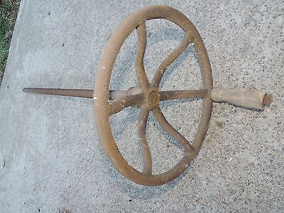 Large Vtg Cast Iron Valve Wheel Handle Crank Industrial Steampunk Lamp Base