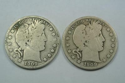 1909 & 1909-S Barber Half Dollars, Good Condition - C2150