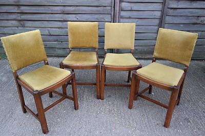 Vintage 1930's Dining Chairs Art Deco Oak Dining Chairs Set Of Four Rustic Chic