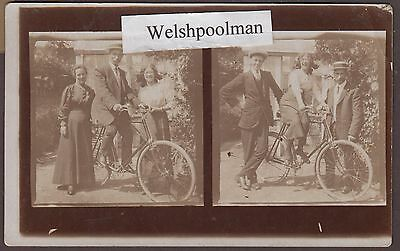 Antique Lovely Family And Their Bicycle Real Photo Postcard