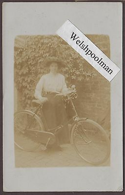Lovely Antique Edwardian Lady And Her Bicycle Postcard #3