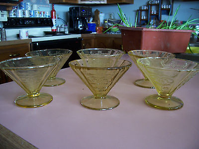 Madrid amber cone footed sherbets (6)