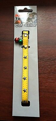 Pet Touch Yellow Studded Faux Leather Cat Collar Wth Bells And Elastic
