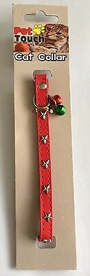 Pet Touch Red Studded Faux Leather Cat Collar Wth Bells And Elastic