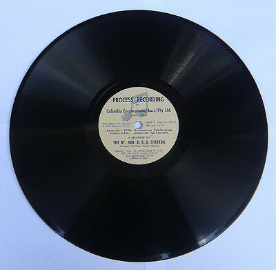 78 rpm Record by B.S.B.Stevens, Premier NSW & Billy Hughes, Health Minister 1939
