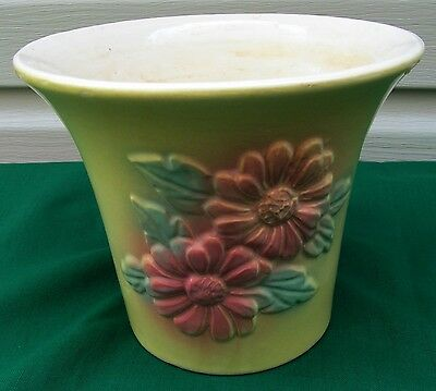 1940s Vintage HULL Pottery Planter Yellow with Pink Daisies Flowers, 6 in. tall