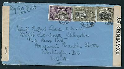 1943 Trinidad & Tobago Double Censored Air Mail Cover - to Washington, DC