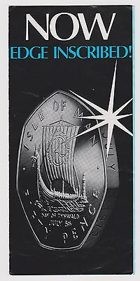RARE 1979 ISLE OF MAN EDGE INSCRIBED 50p COIN LEAFLET - *NOT THE COIN - IoM MANX
