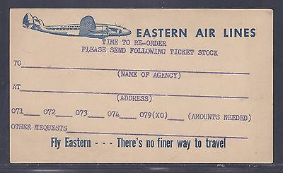 1950's #UX38 Advertising Card – Eastern Air Lines, Chicago, IL