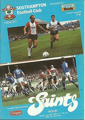 Southampton V Wolves30/10/1984 League Cup 3Rd Round
