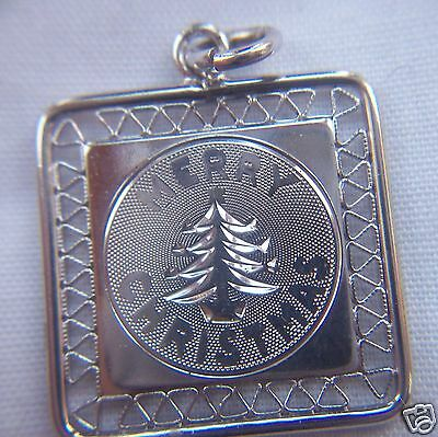 Christmas Merry Tree Sterling Charm Square Filigree Silver .75 inch