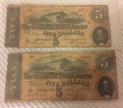Lot of (2)- 1864 Confederate $5 Five Dollars Richmond Currency Notes Bills
